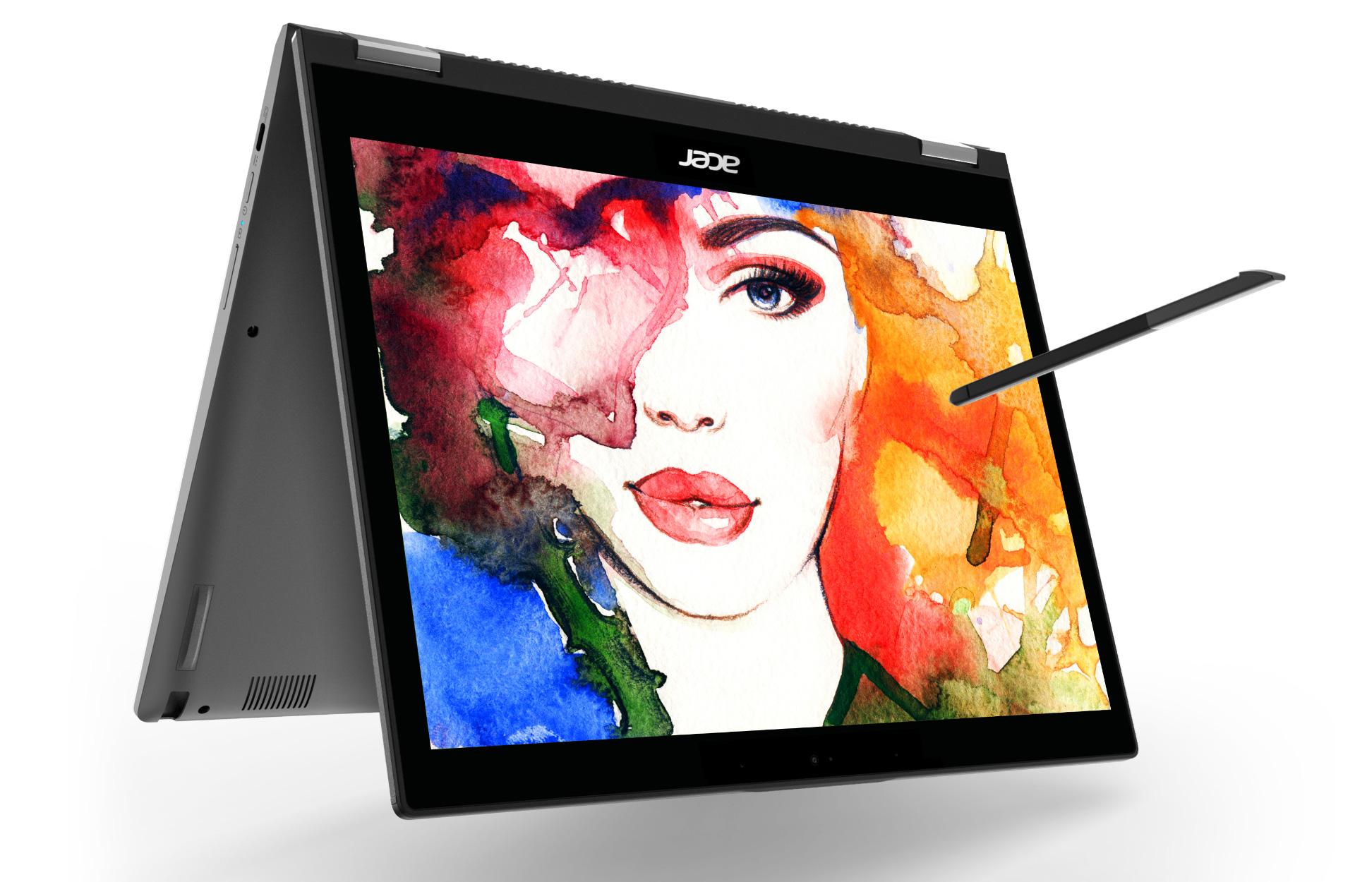 Chromebook Spin voidaan taittaa, jolloin se pysyy pystyssä. Mukana tulee Stylus-kynä.